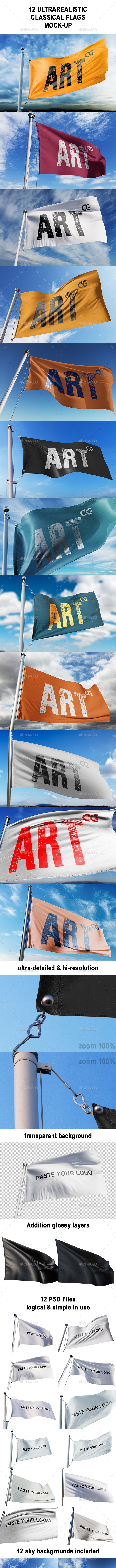 Ultra-realistic Classic Flags Mock-up - Graphics