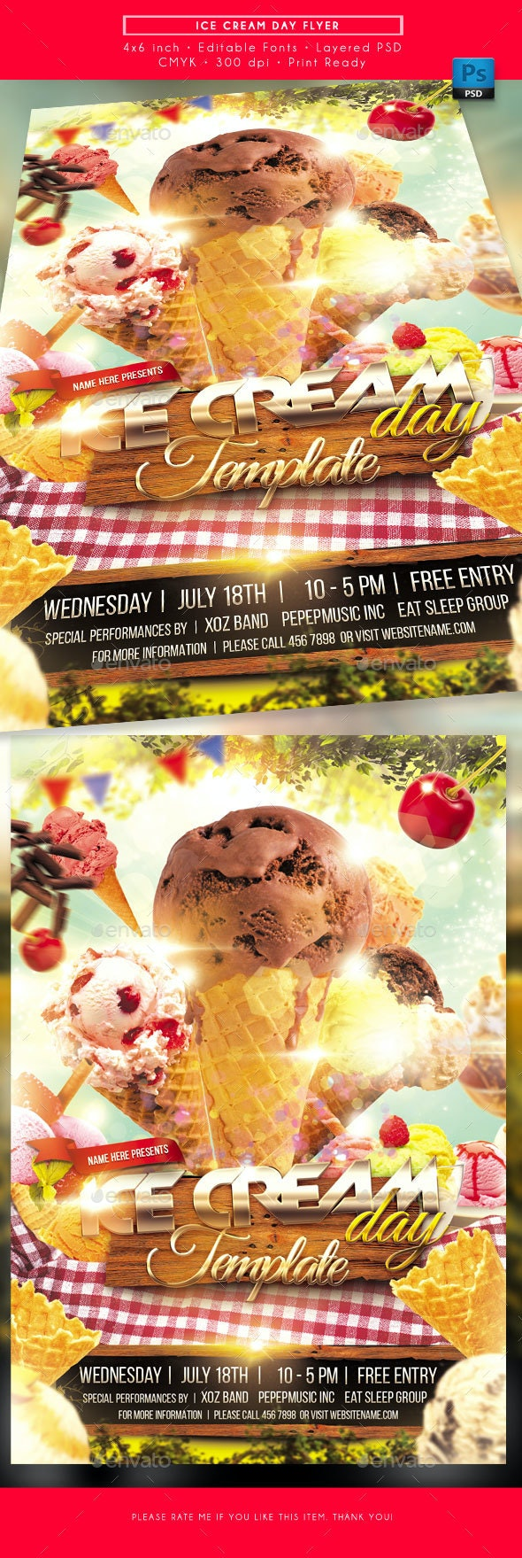 Ice Cream Day Flyer - Miscellaneous Events