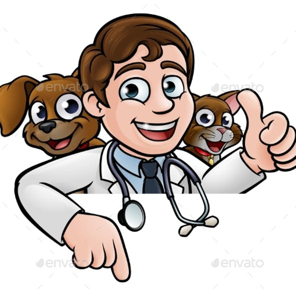 Cartoon Vet Cat and Dog Characters Sign