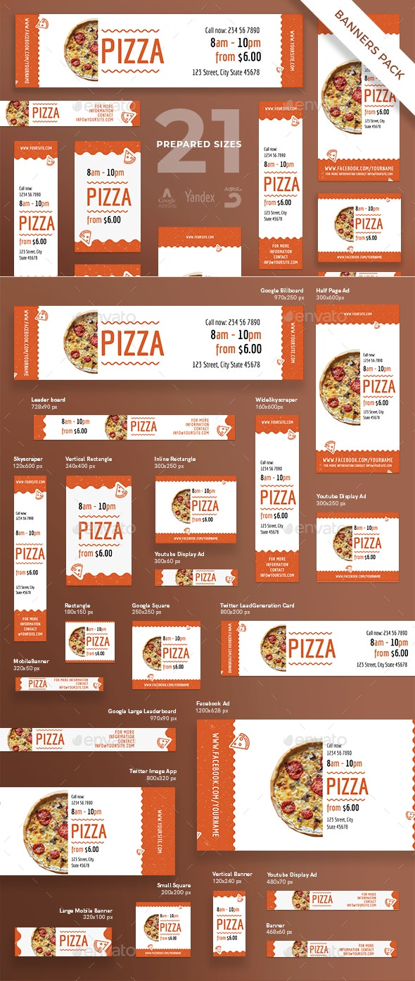 Tasty Pizza Banner Pack - Banners & Ads Web Elements