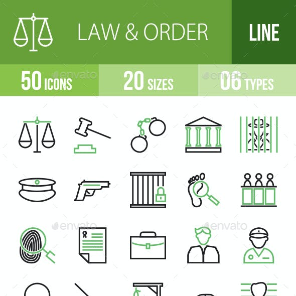 50 Law & Order Green & Black Line Icons