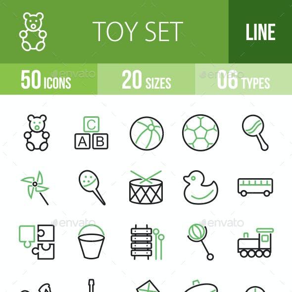 50 Toy Set Green & Black Line Icons