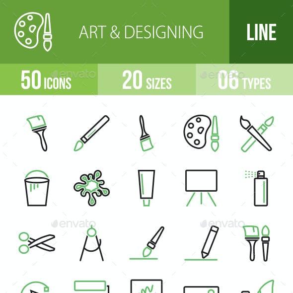 50 Art & Designing Green & Black Line Icons