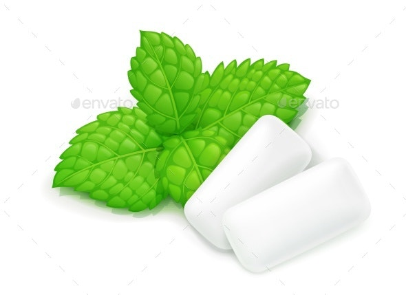 Two Chewing Gum and Mint Leaf - Food Objects