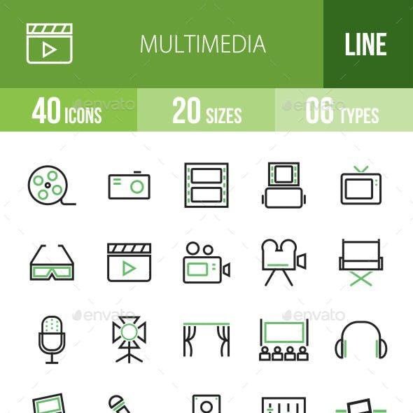 40 Multimedia Green & Black Line Icons
