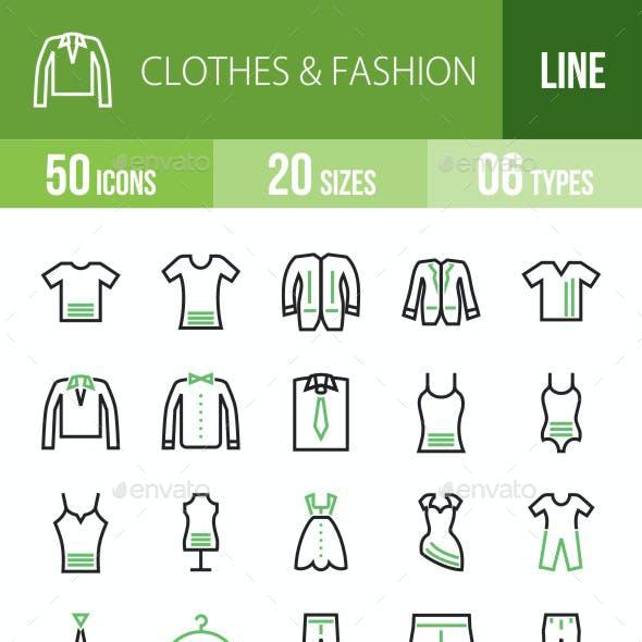 50 Clothes & Fashion Green & Black Line Icons