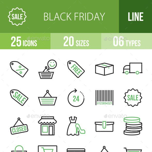 25 Black Friday Green & Black Line Icons