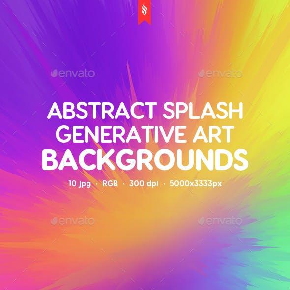 Generative Art. Abstract Splash Backgrounds