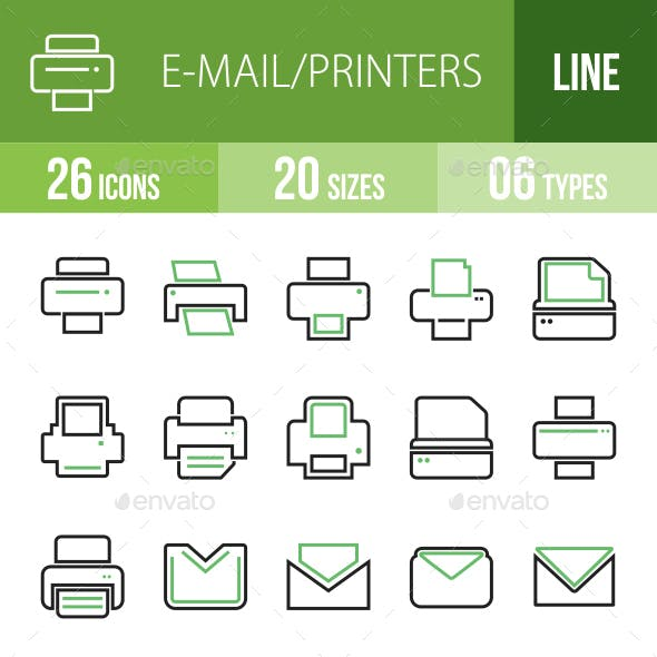 26 Email & Printer Green & Black Line Icons