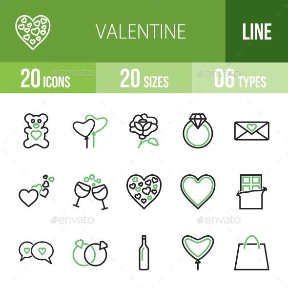 20 Valentine Green & Black Line Icons