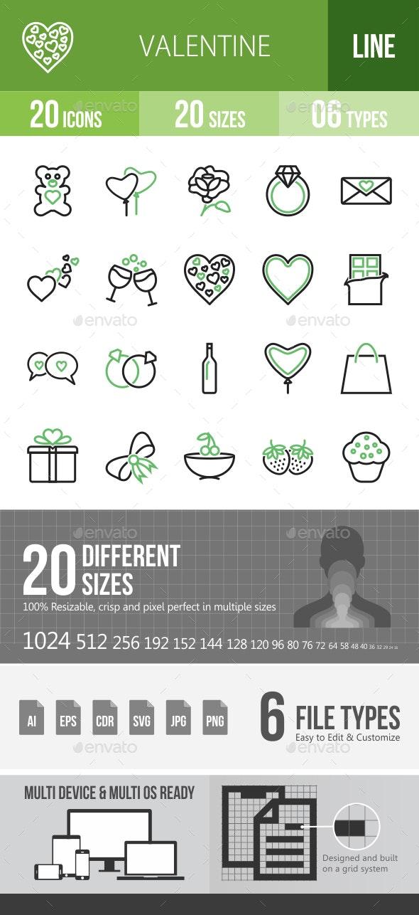 20 Valentine Green & Black Line Icons - Icons