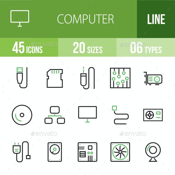 45 Computer & Hardware Green & Black Line Icons