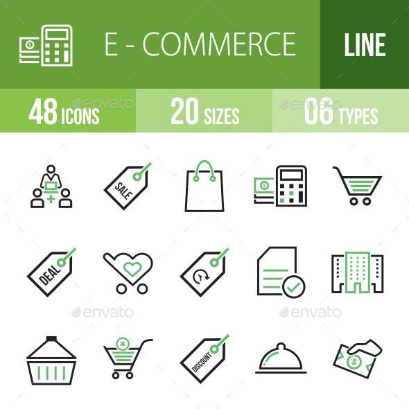48 Ecommerce Green & Black Line Icons