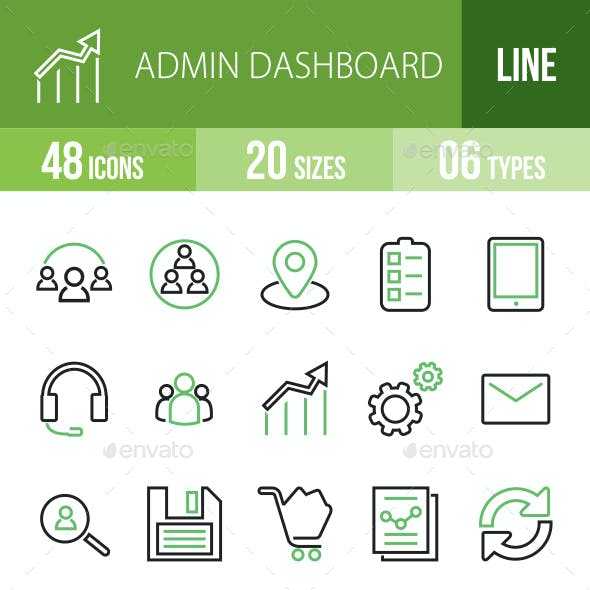 48 Admin Dashboard Green & Black Line Icons