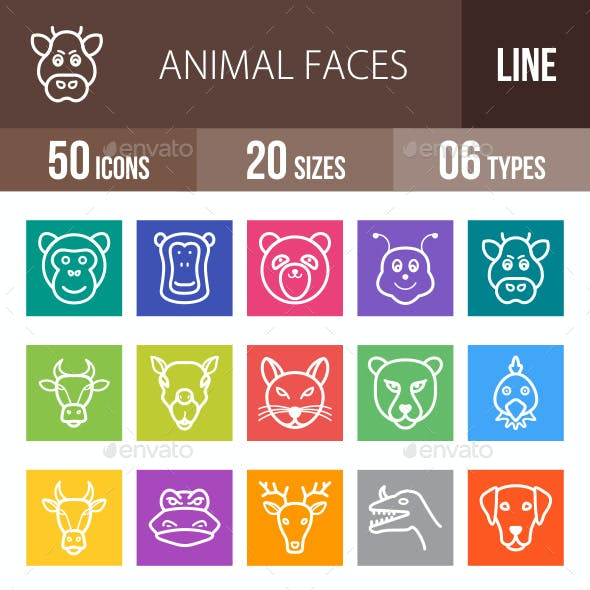 Animal Faces Line Multicolor Icons