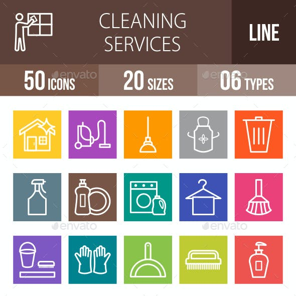 Cleaning Services Line Multicolor Icons