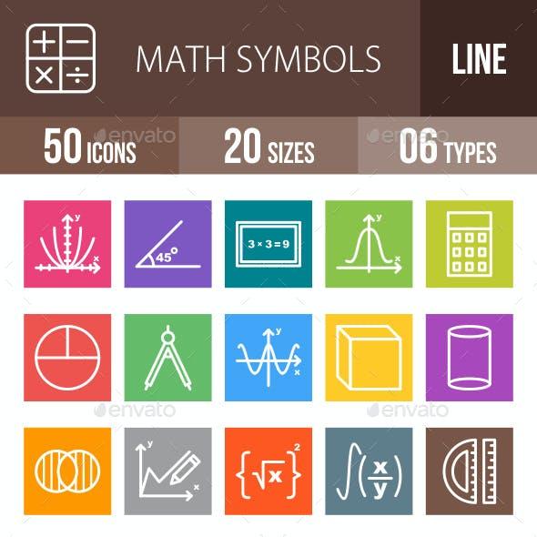Math Symbols Line Multicolor Icons