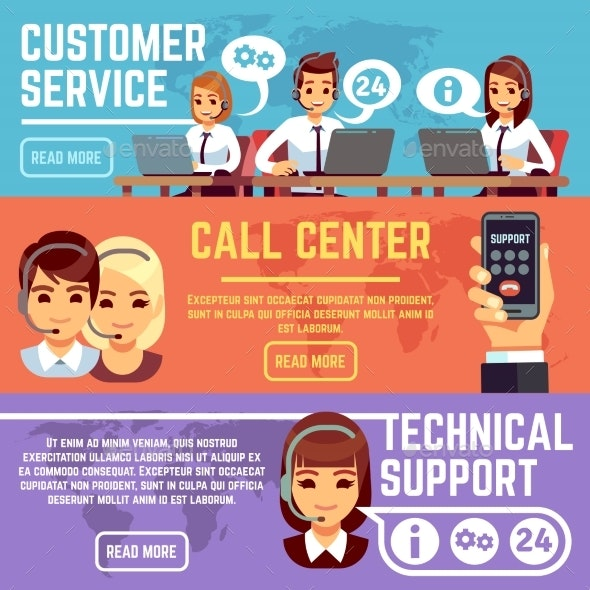 Customer Service Banners with Call Center Support - Services Commercial / Shopping