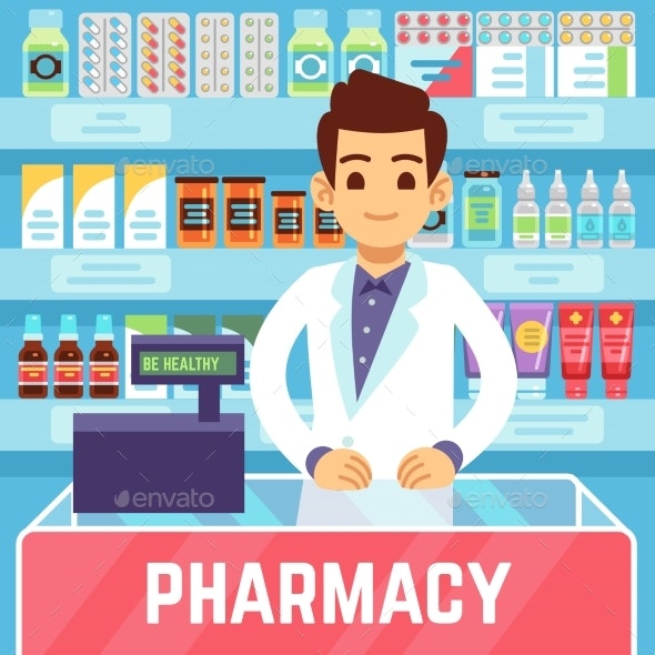 Happy Young Man Pharmacist Sells Medications in - People Characters