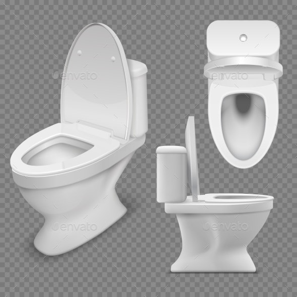 Toilet Bowl Realistic White Home Toilet - Man-made Objects Objects