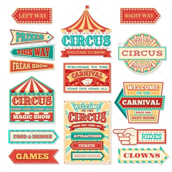 Old Carnival Circus Banners and Carnival Labels
