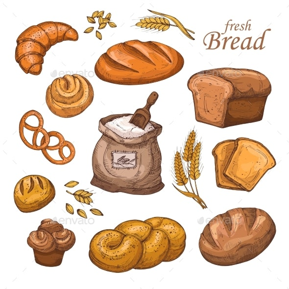 Cartoon Bread and Fresh Bakery Product - Food Objects