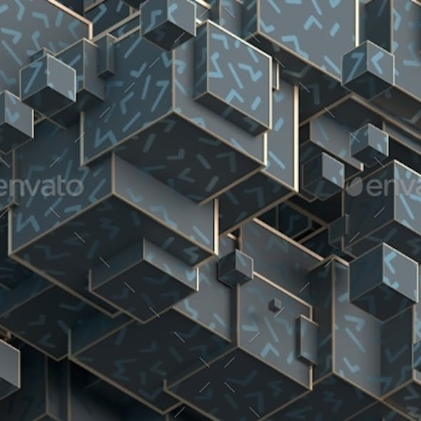 Abstract 3D Rendering of Cubes
