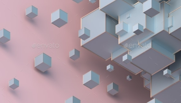 Abstract 3D Rendering of Cubes - Abstract 3D Renders