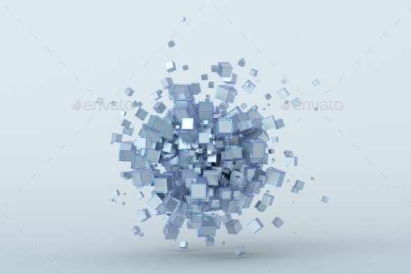 Abstract 3D Rendering of Cubes - 3D Backgrounds