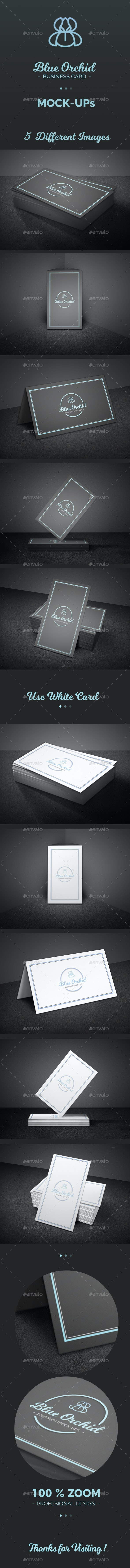 Blue Orchid Mock-Up - Business Cards Print