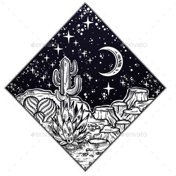 Night Desert of America with Cacti - Landscapes Nature