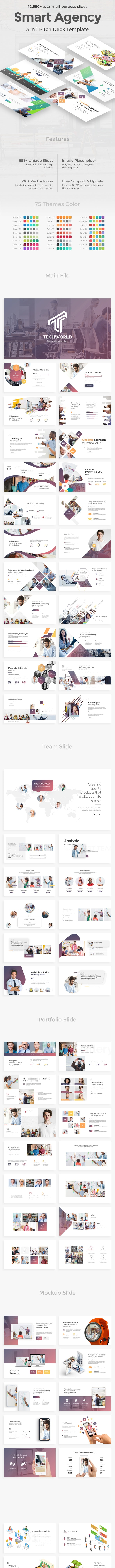 Smart Agency 3 in 1 Pitch Deck Keynote Bundle Template - Business Keynote Templates