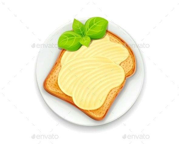 Sandwich with Butter and Basil Leaf - Food Objects