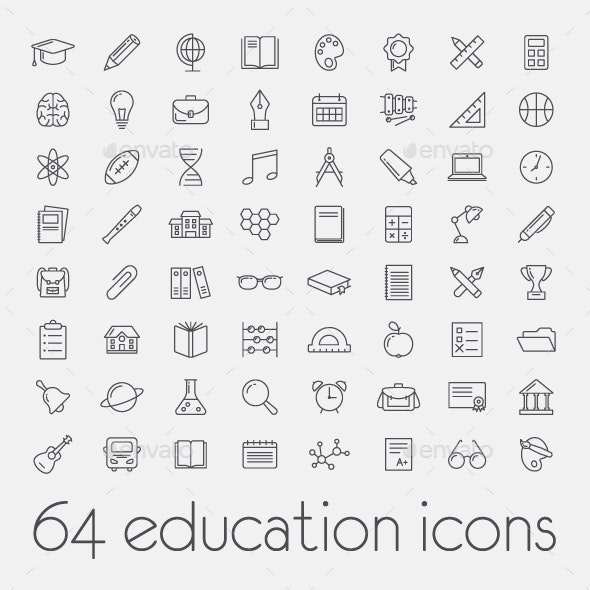 64 Education Icons - Miscellaneous Icons