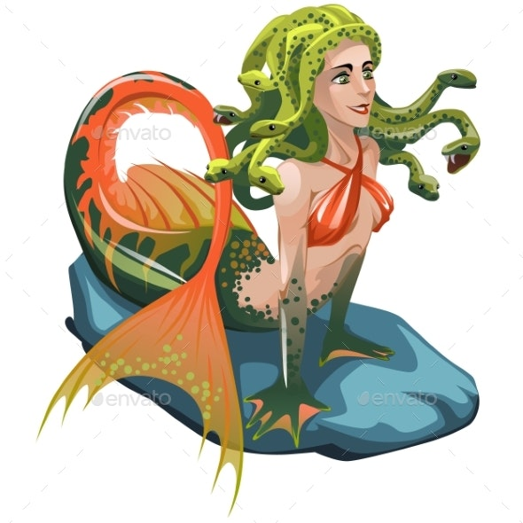 Mermaid with Hair of Snakes Isolated on a White - Characters Vectors