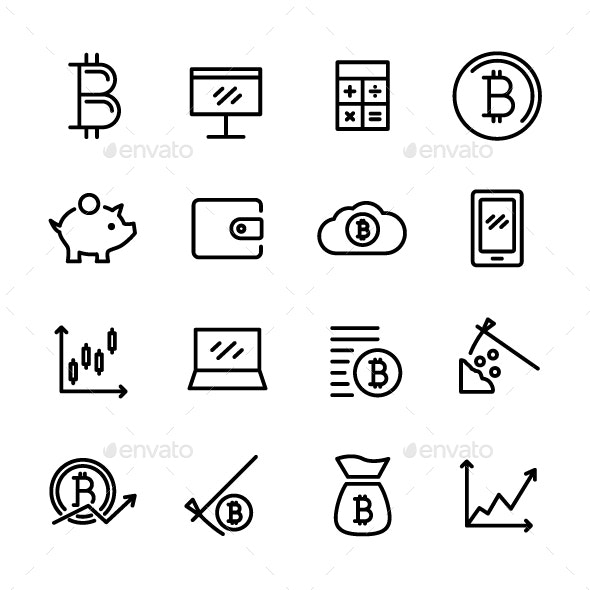 16 Bitcoin Icons - Business Icons