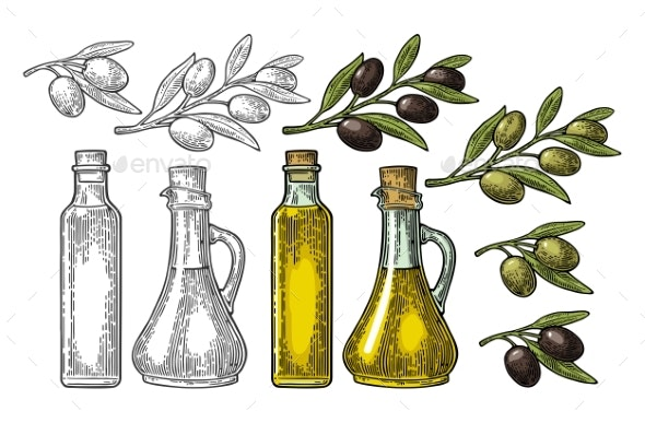 Bottle Glass Oil with Cork Stopper and Branch - Food Objects