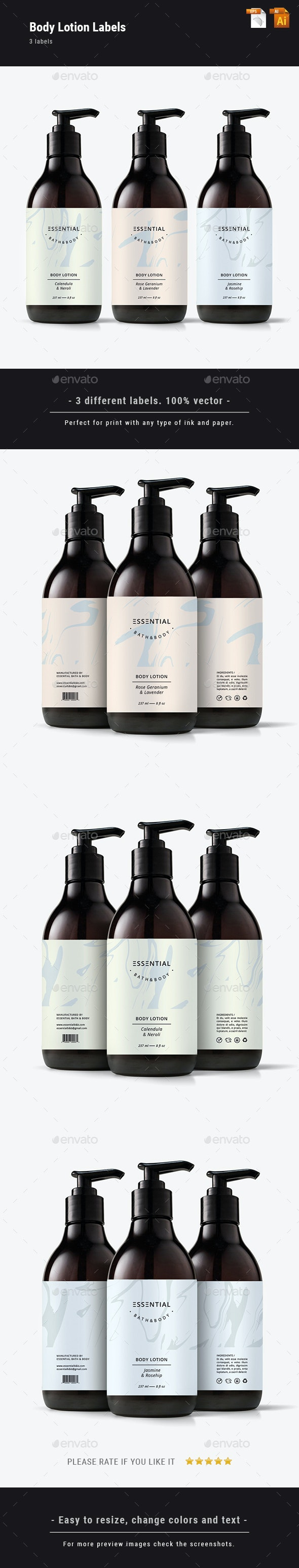 Body Lotion Label Set - Packaging Print Templates
