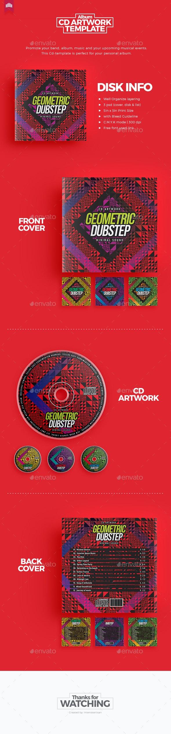 Geometric Dubstep - CD Artwork - CD & DVD Artwork Print Templates