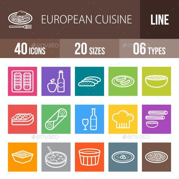 European Cuisine Line Multicolor Icons