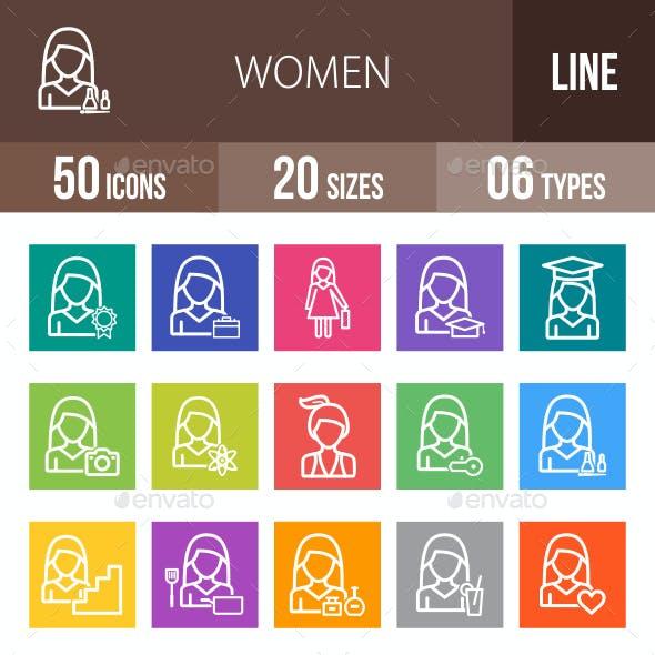 Women Line Multicolor Icons