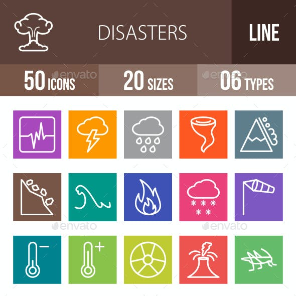 Disasters Line Multicolor Icons