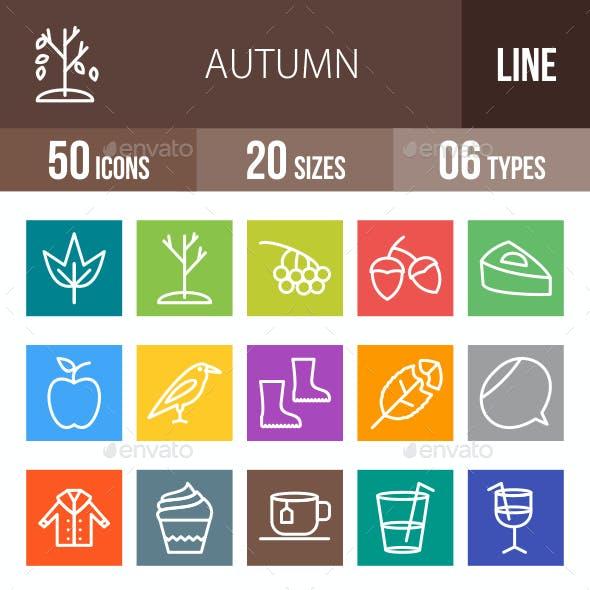 Autumn Line Multicolor Icons