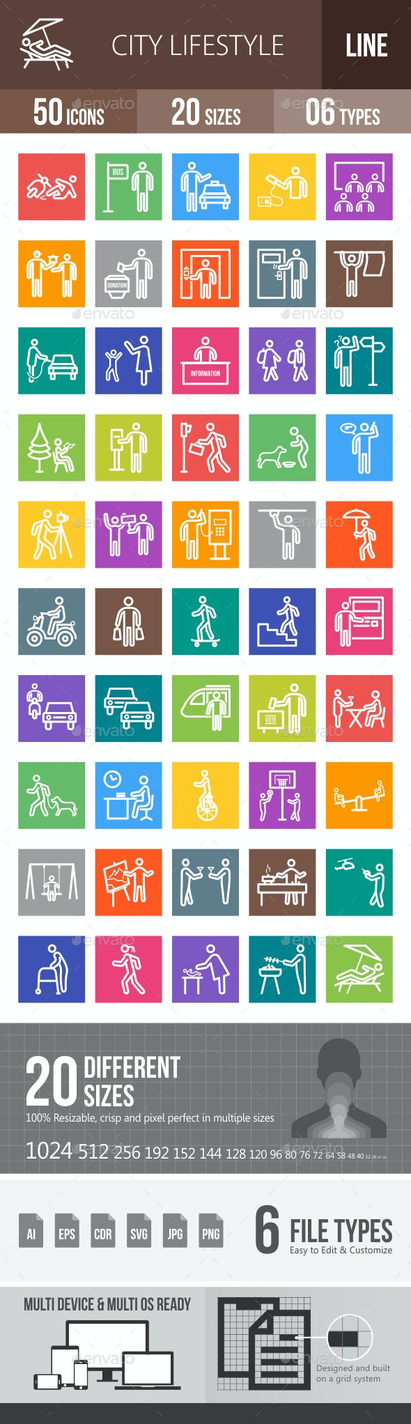 City Lifestyle Line Multicolor Icons - Icons