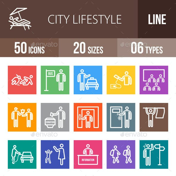 City Lifestyle Line Multicolor Icons