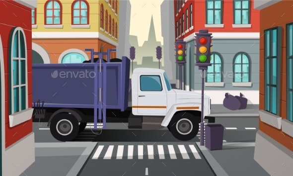 Vector Rubbish Truck on Crossroad, Municipal - Backgrounds Decorative