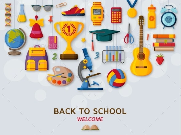 Back To School Background with 3d Paper Cut Signs - Miscellaneous Vectors