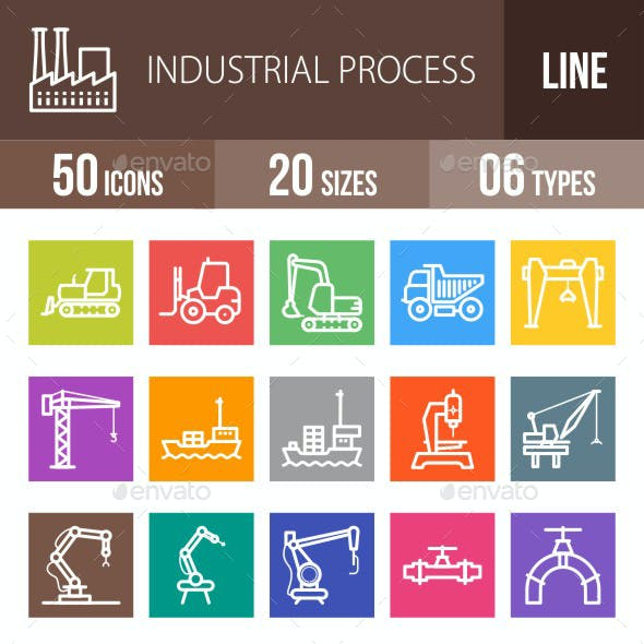 Industrial Process Line Multicolor Icons