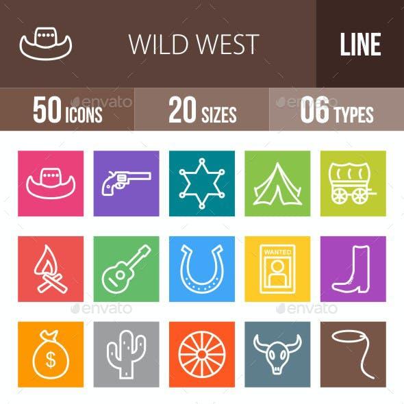 Wild West Line Multicolor Icons