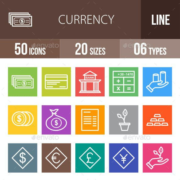 Currency Line Multicolor Icons